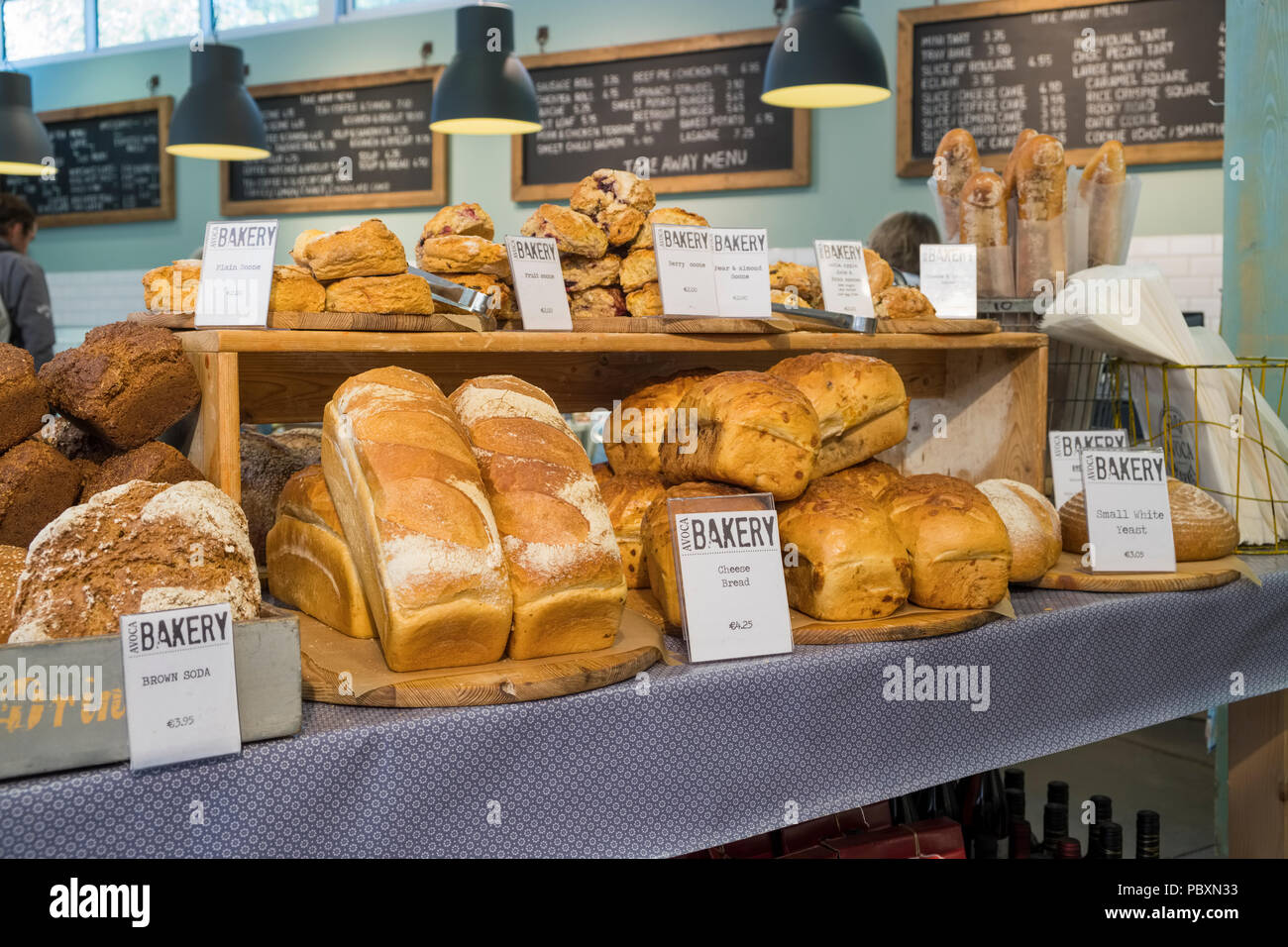 Speciality bread on display inside a bakery, Republic of Ireland, Europe - Stock Image