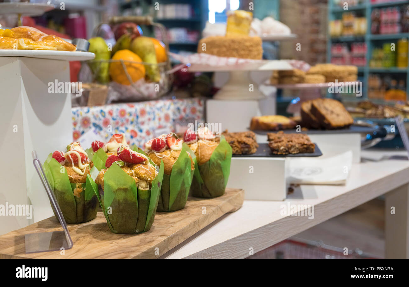 Speciality cakes and bread on display inside a bakery, Republic of Ireland, Europe Stock Photo