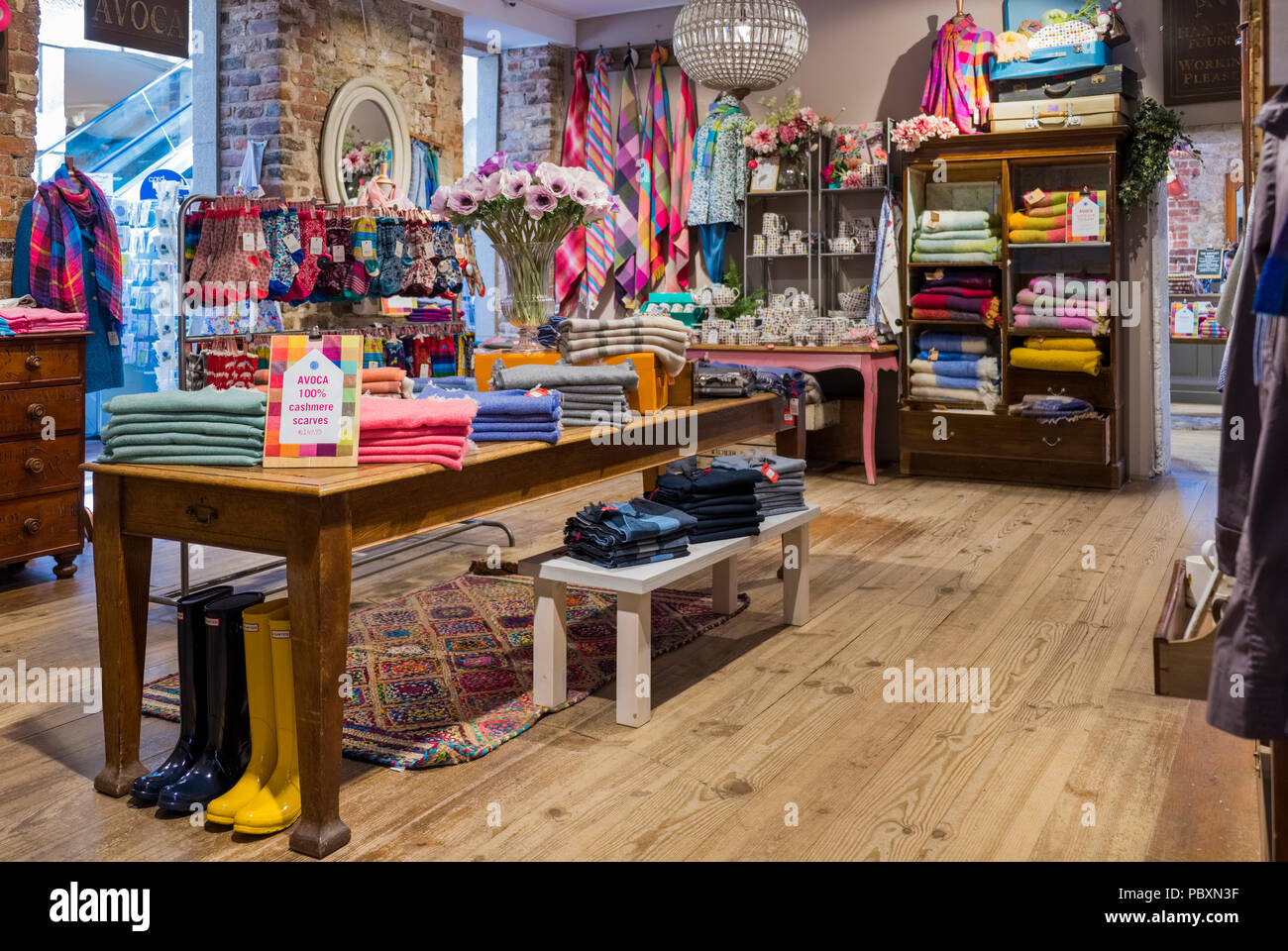 Interior of an Avoca shop, an upmarket retail store in the Republic of Ireland, Europe - Stock Image