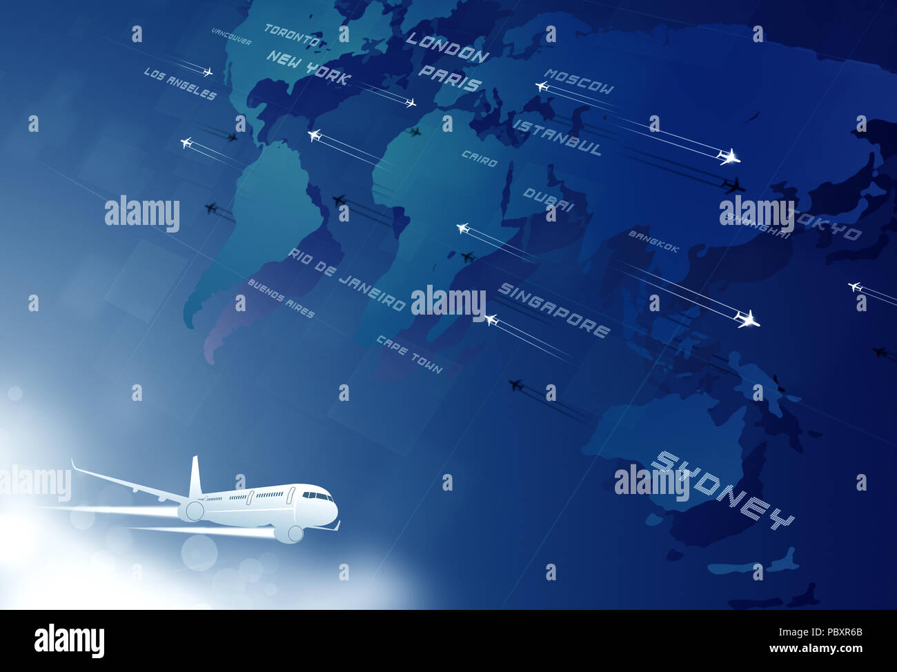 aviation background with many planes on map with  cities names Stock Photo