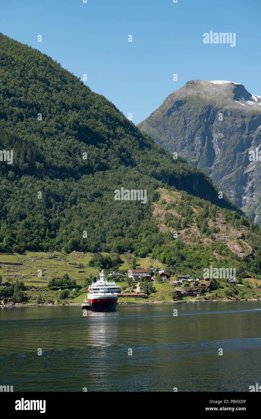 Hurtigruten, Nordlys on Geiranger fjord, Norway - Stock Image