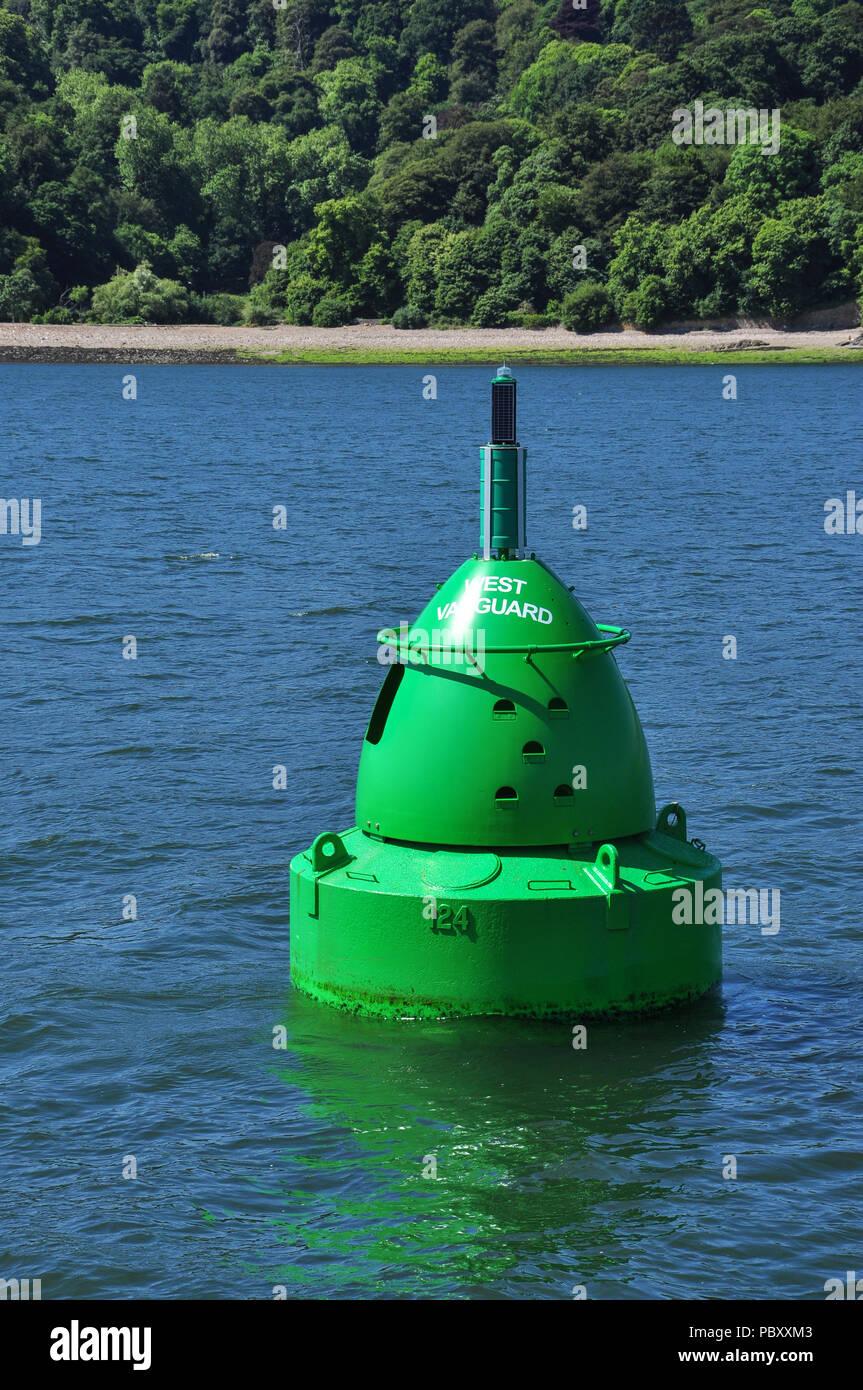 Green marker buoy near Devil's Point, Plymouth Sound, Devon, England, UK Stock Photo