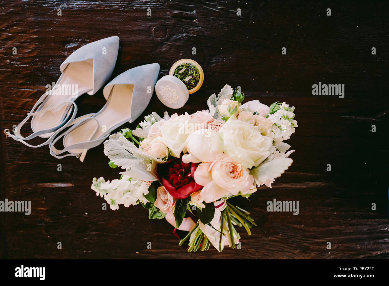 Wedding Bouquet Of Flowers And Rings Layflat In Fine Art Style