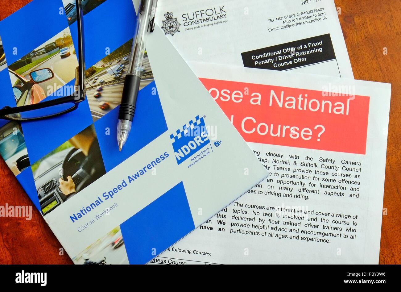 national speed awareness course paperwork - Stock Image
