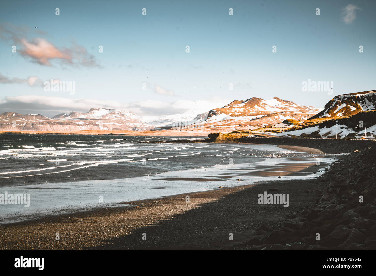 Snaefellsnes Weste Iceland Ocean view with beach and mountains and blue sky in the background. - Stock Image
