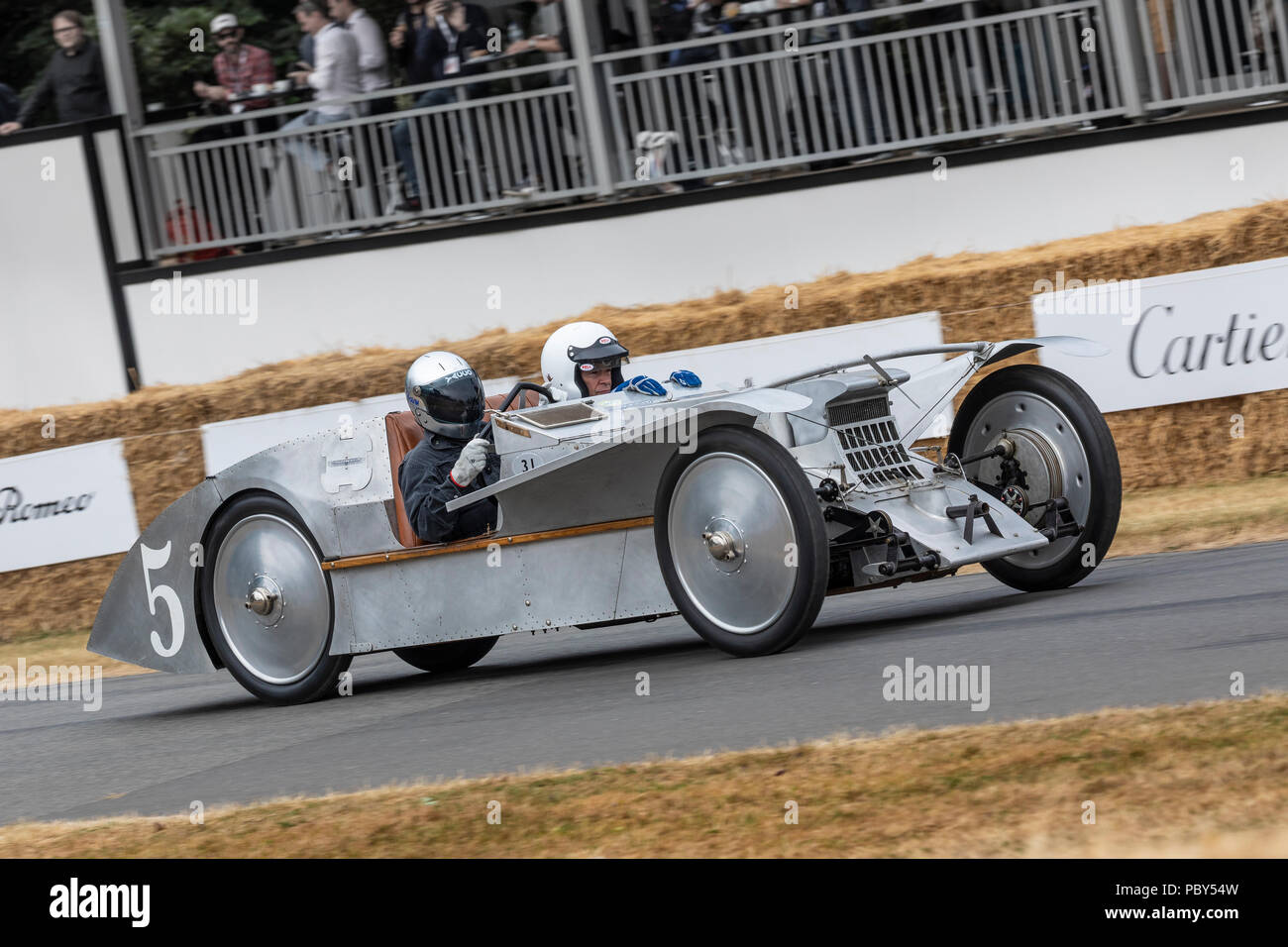 1923 Avions Voisin C6 Laboratoire, the first monocoque racing car, with driver Philipp Moch at the 2018 Goodwood Festival of Speed, Sussex, UK. - Stock Image
