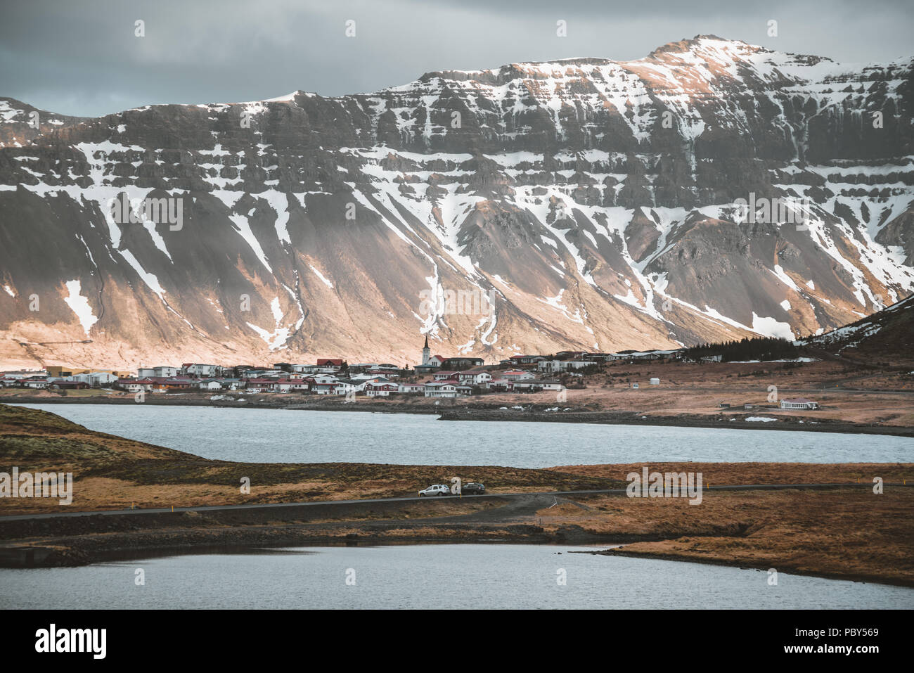 Street Highway Ring road No.1 in Snaefellsnes West Iceland, with view towards mountain. Western side if the country. - Stock Image