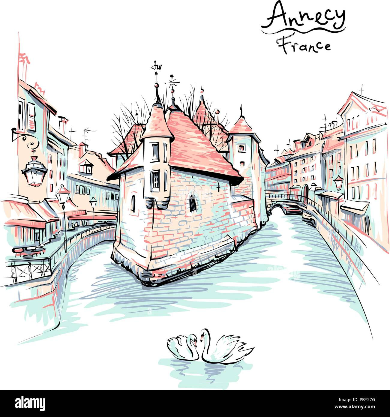 Annecy, Venice of the Alps, France. Stock Vector