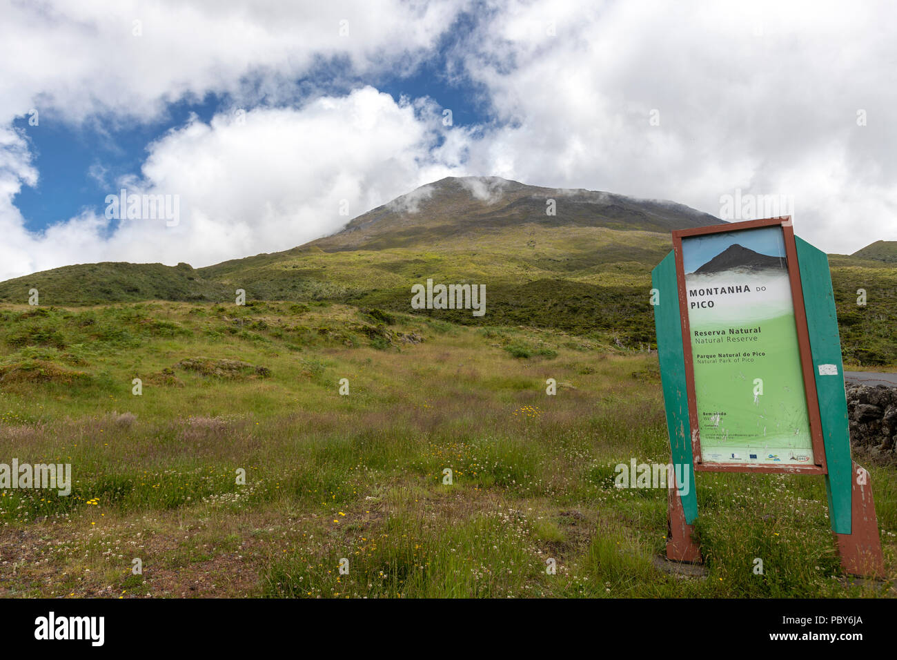 Mount Pico information placard  in Pico island, Azores, Portugal - Stock Image
