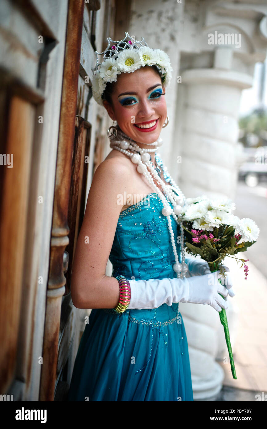Colombian woman dressed as Jovita. Character created by Enrique Buenaventura in his experimental theatre play La Mojiganga and now a must during the F - Stock Image