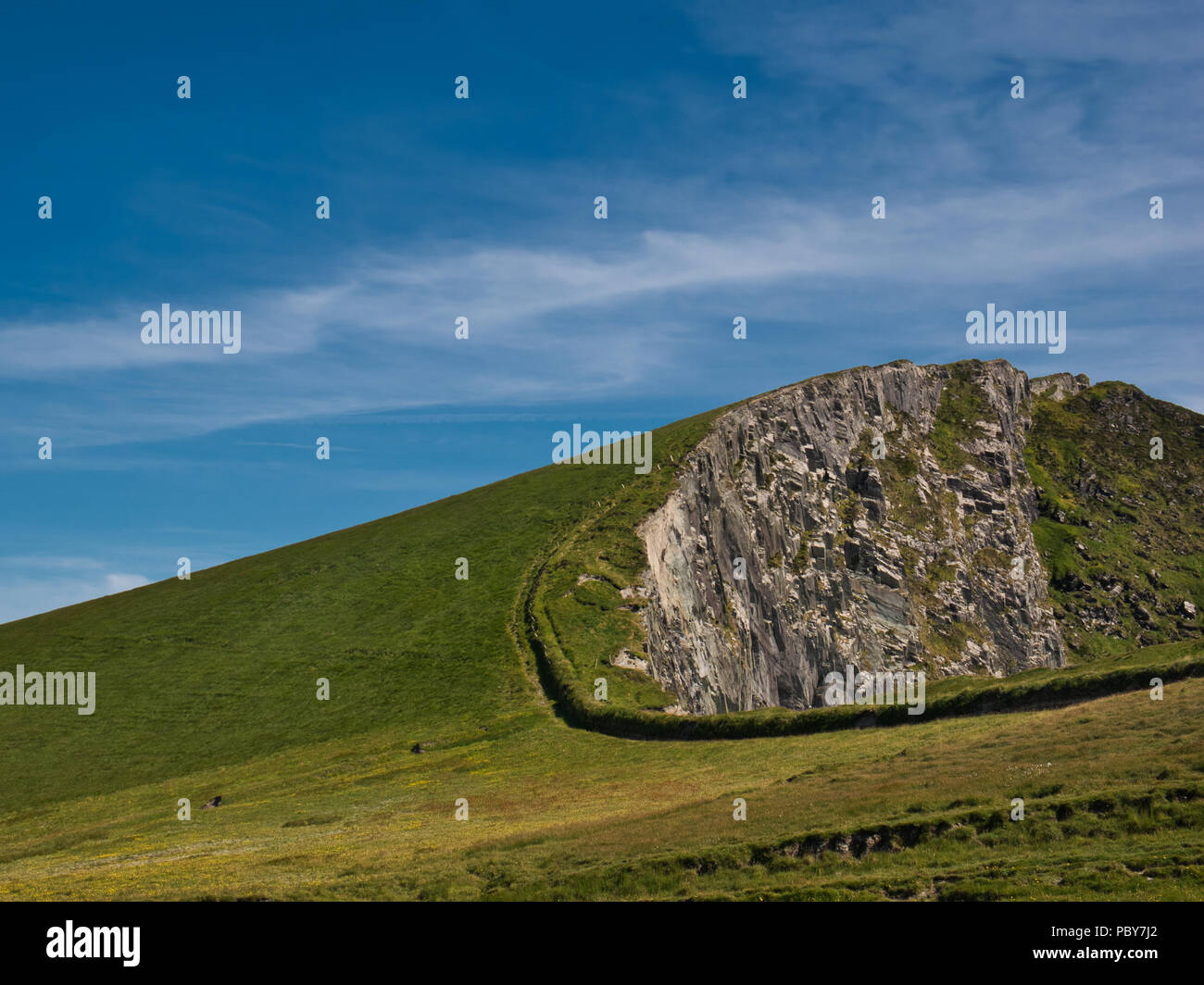 Green meadow with a fence just before the precipice on a rock wall on the west coast of Ireland in Portmagee - Stock Image
