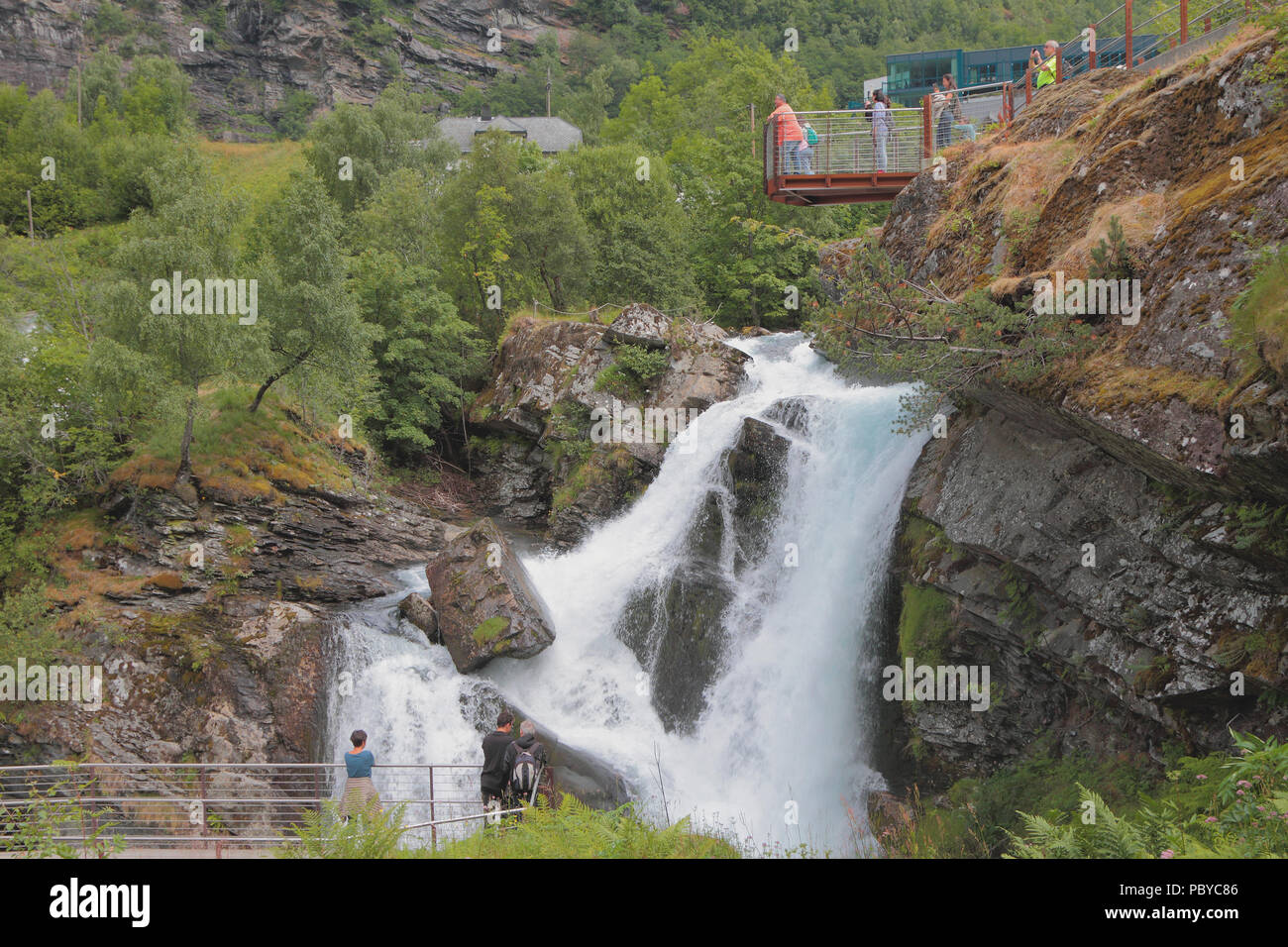 Falls and observation decks. Geiranger, Norway - Stock Image