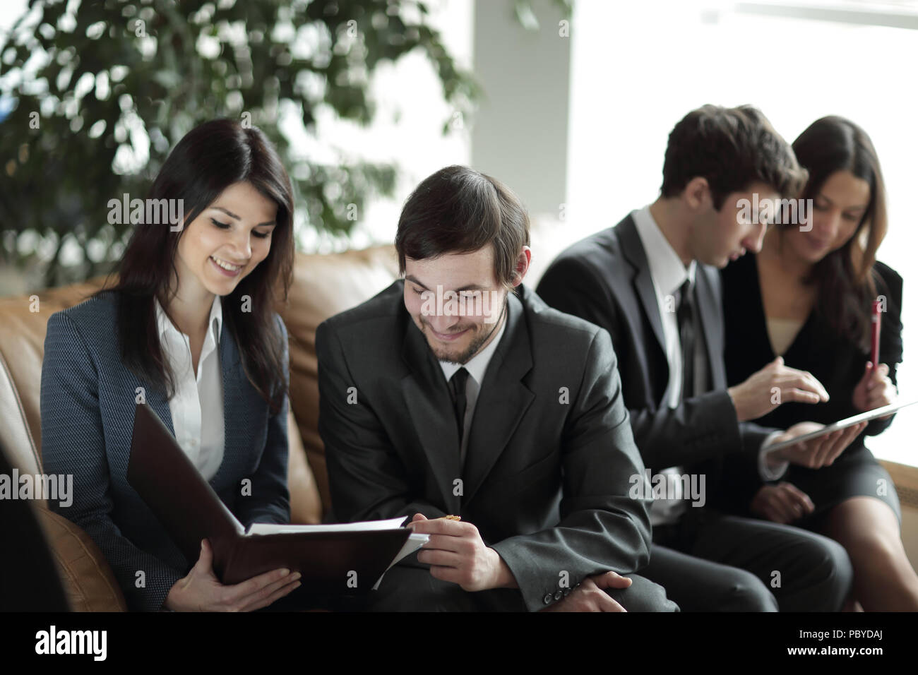 close up.Manager and client to discuss the documents in a modern office - Stock Image