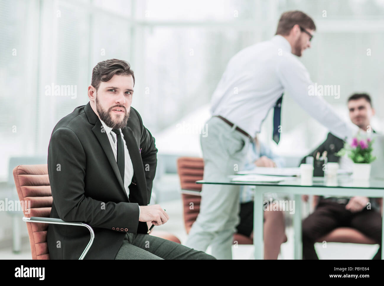 Manager and business team working with financial reports in the  - Stock Image