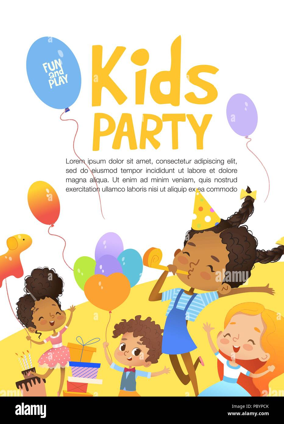 joyous multiracial kids in birthday hats and balloons happily jump