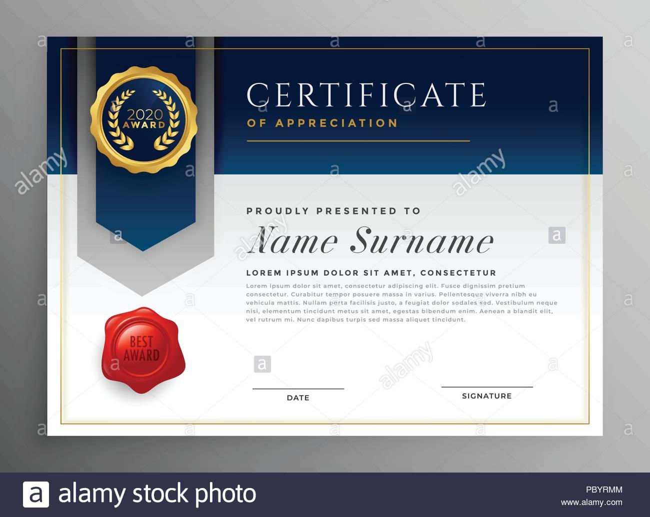 Professional Blue Certificate Template Design Stock Vector Art