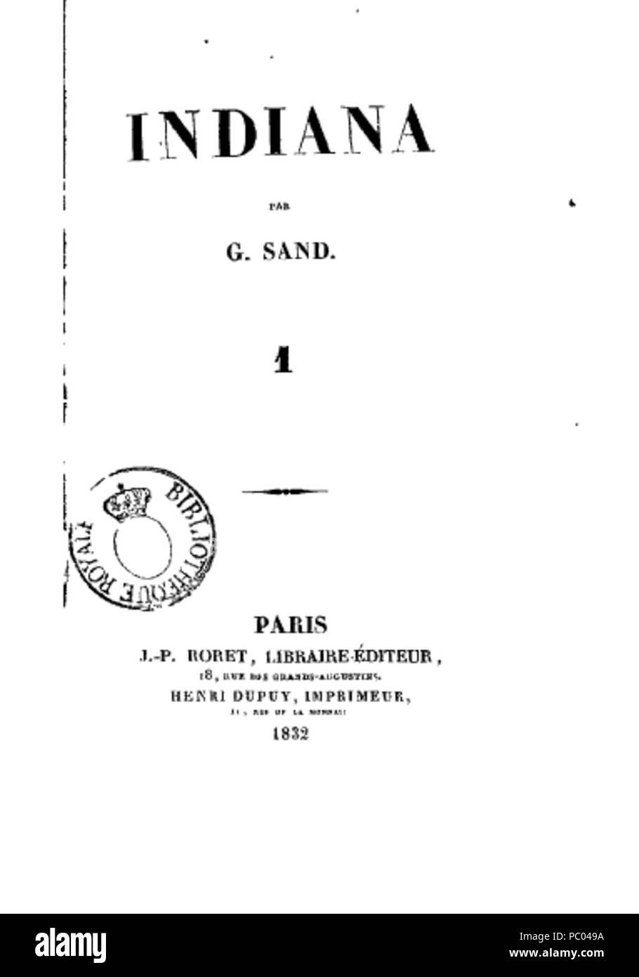 296 Indiana de George Sand, page de titre du tome 1 de la première édition (1832) - Stock Image
