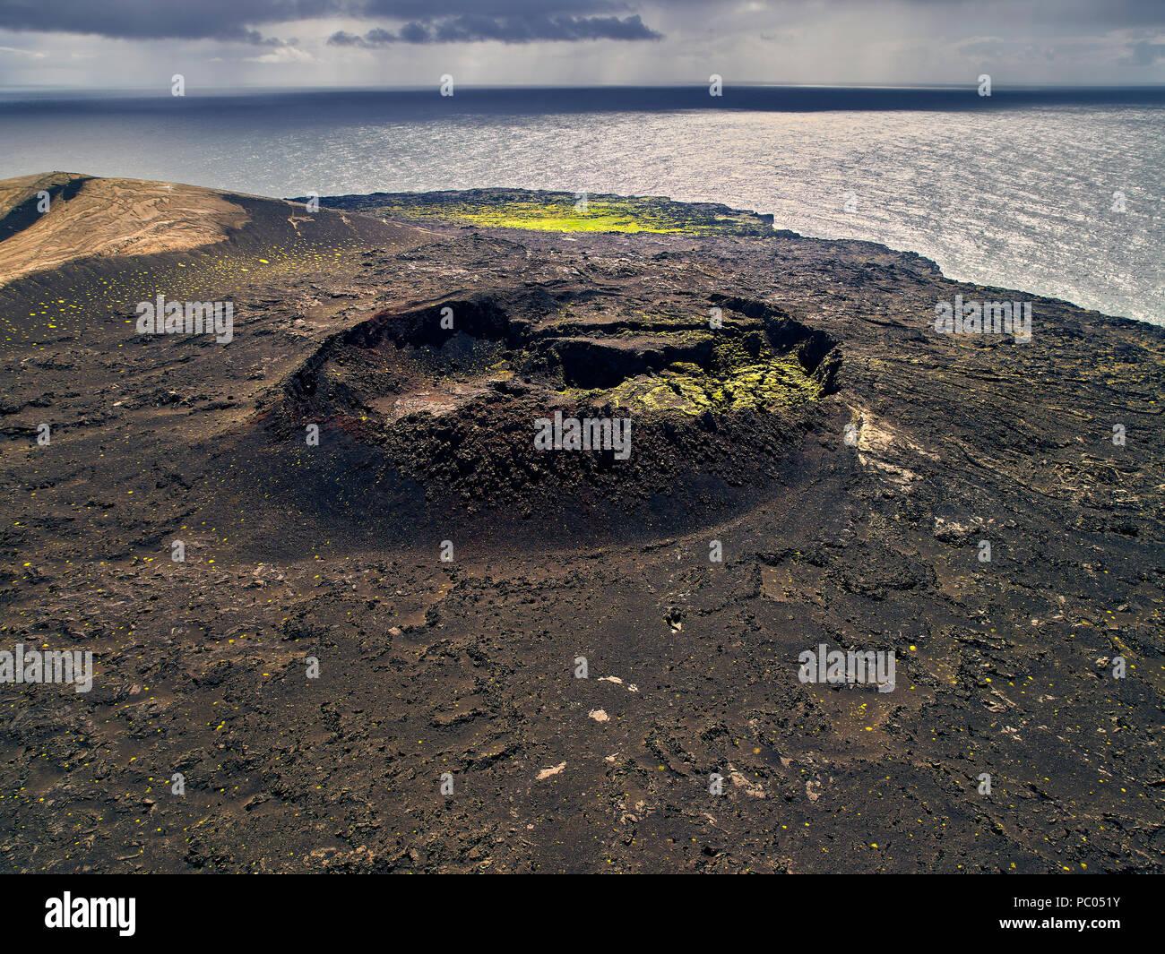 Lava and vegetation, Surtsey Island, Westman Islands, Iceland - Stock Image