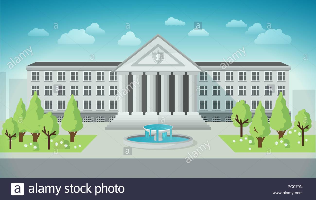 Front view of university or government building in flat style. - Stock Image