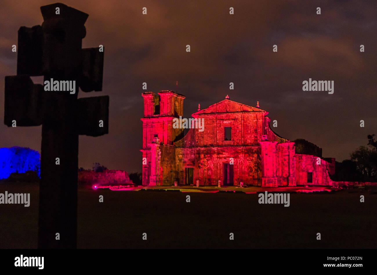 Part of the UNESCO site - Jesuit Missions of the Guaranis: Church, Ruins of Sao Miguel das Missoe, Rio Grande do Sul, Brazil. - Stock Image