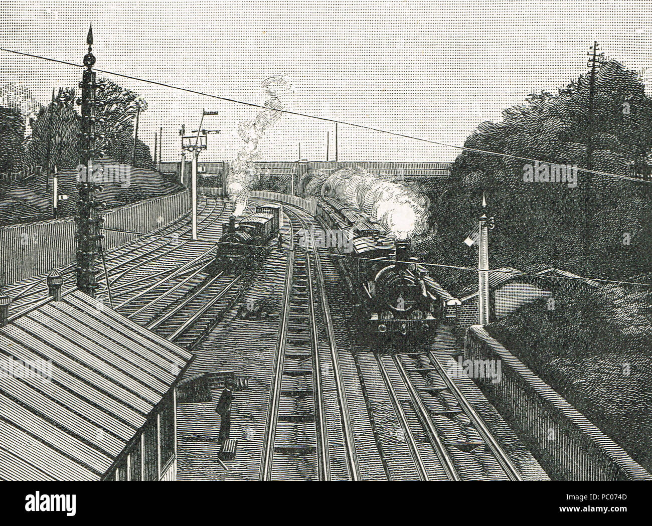The Flying Dutchman passing Acton station at sixty  miles per hour, on the down route of the Great Western Railway in the 19th Century - Stock Image