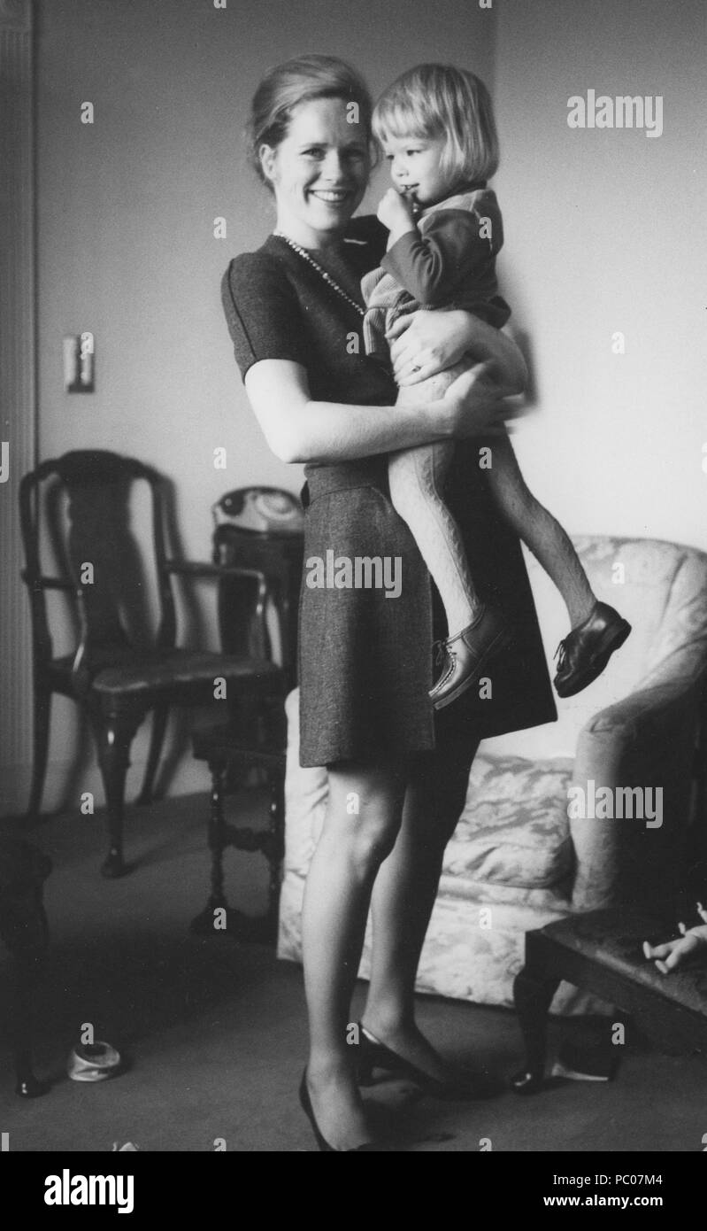 Liv Ullmann. Norwegian actress picture with her daughter Linn 1969. Liv Ullman was Ingmar Bergmans partner and Linn is their daughter - Stock Image
