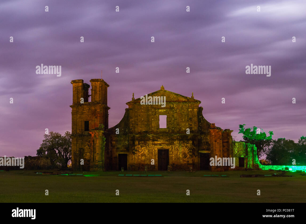 Part of the UNESCO site - Jesuit Missions of the Guaranis: Church, Ruins of Sao Miguel das Missoe, Rio Grande do Sul, Brazil. - Stock Image