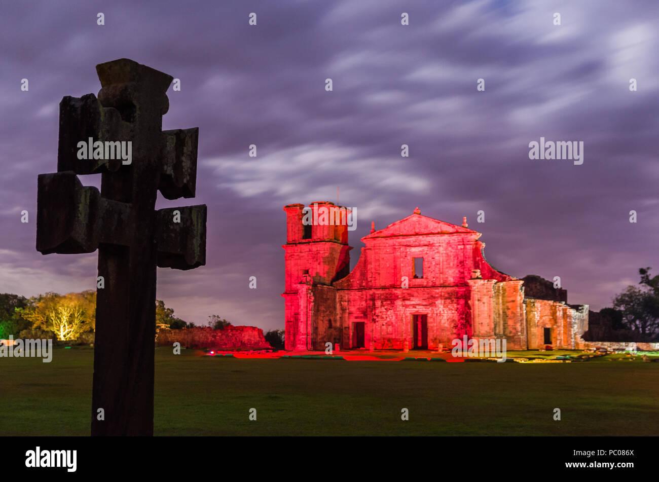 Part of the UNESCO site - Jesuit Missions of the Guaranis: Church, Ruins of Sao Miguel das Missoe, Rio Grande do Sul, Brazil. Stock Photo