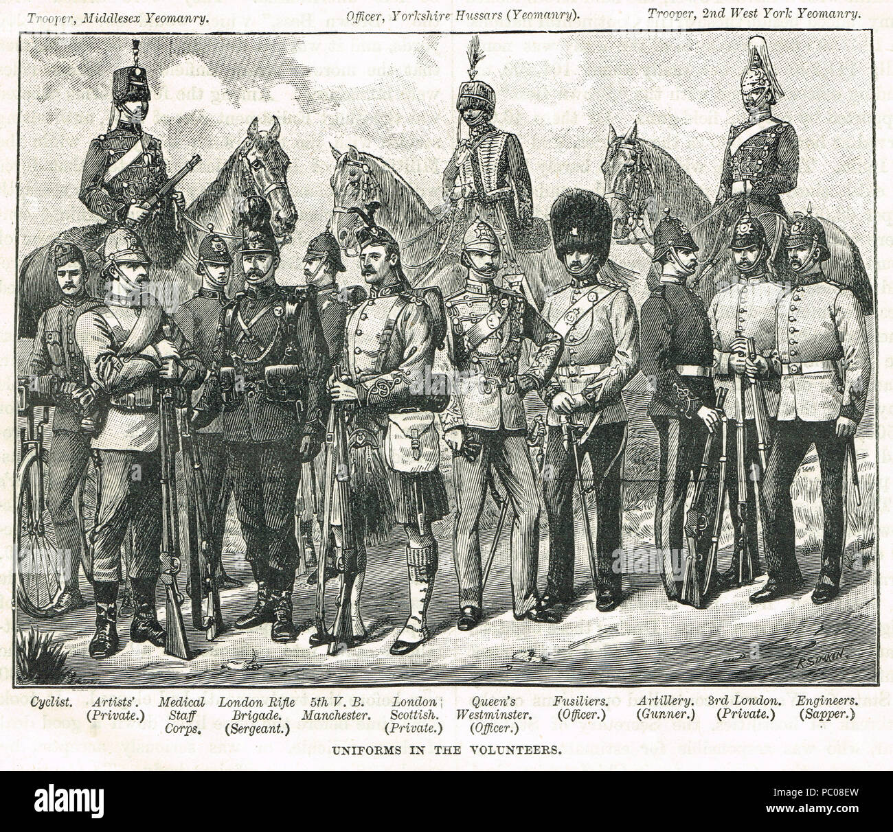 Volunteers uniforms of the 19th century, - Stock Image