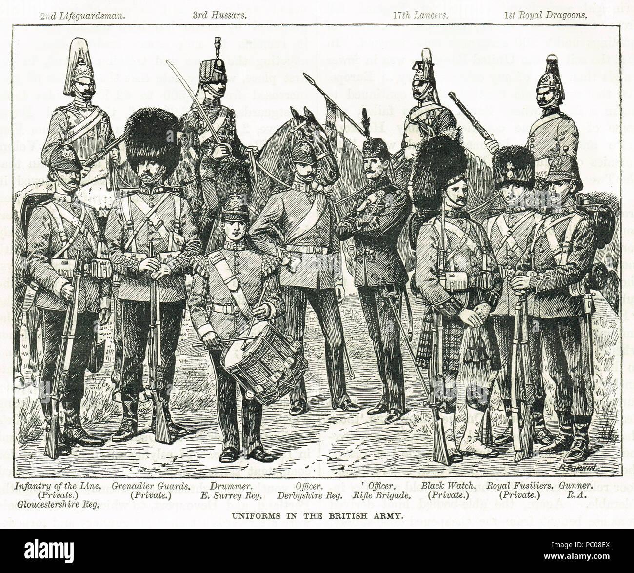 British Army uniforms of  the 19th century - Stock Image