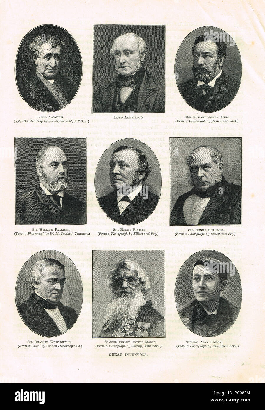 Great inventors of the  19th Century - Stock Image