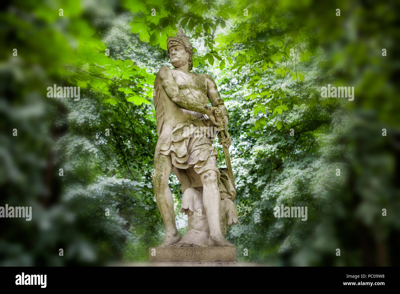 Sculpture of Mars at Nordkirchen Moated Palace, Germany - Stock Image