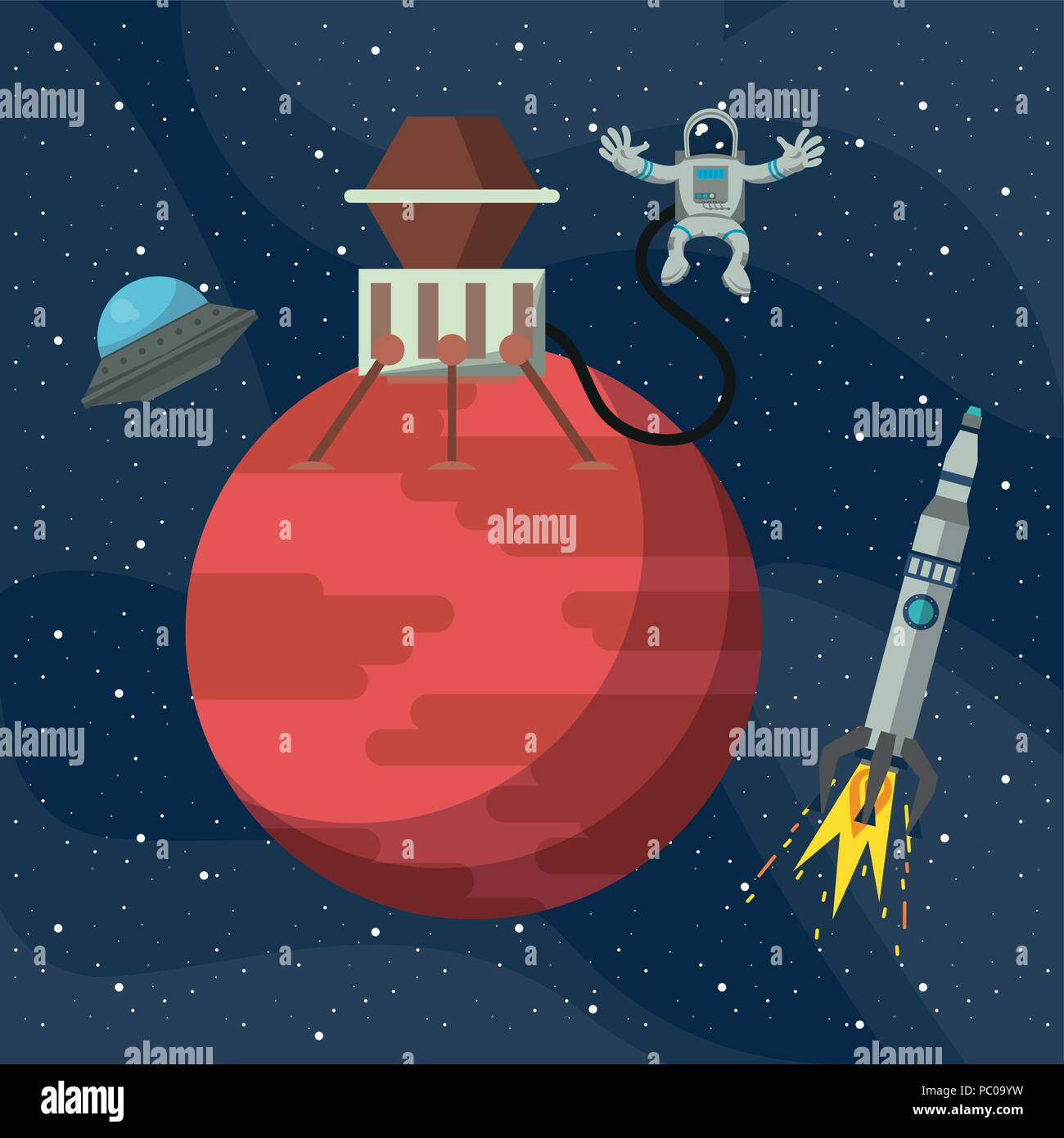 Spaceship On Mars And Ufo Flying With Spaceship Vector Illustration
