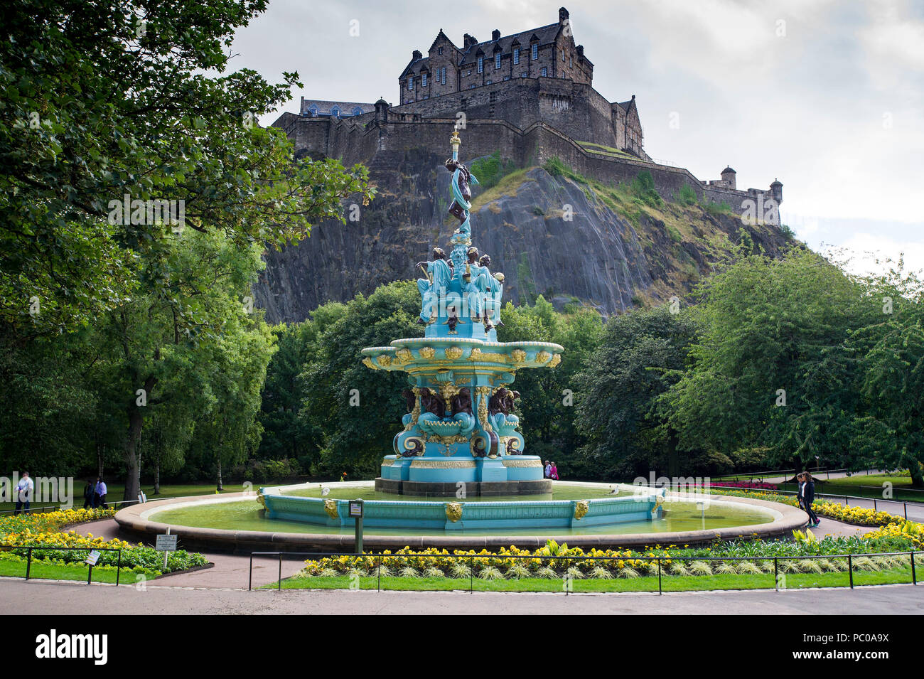 The newly refurbished Ross Fountain in West Princes Street Gardens, Edinburgh, Scotland, UK - Stock Image