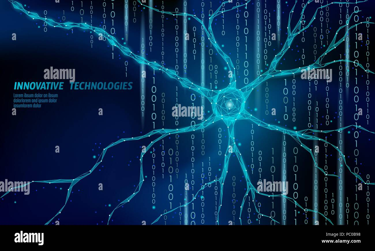 Human neuron low poly anatomy concept. Artificial neural network technology science medicine cloud computing. AI 3D abstract biology system. Polygonal blue glowing vector illustration - Stock Image