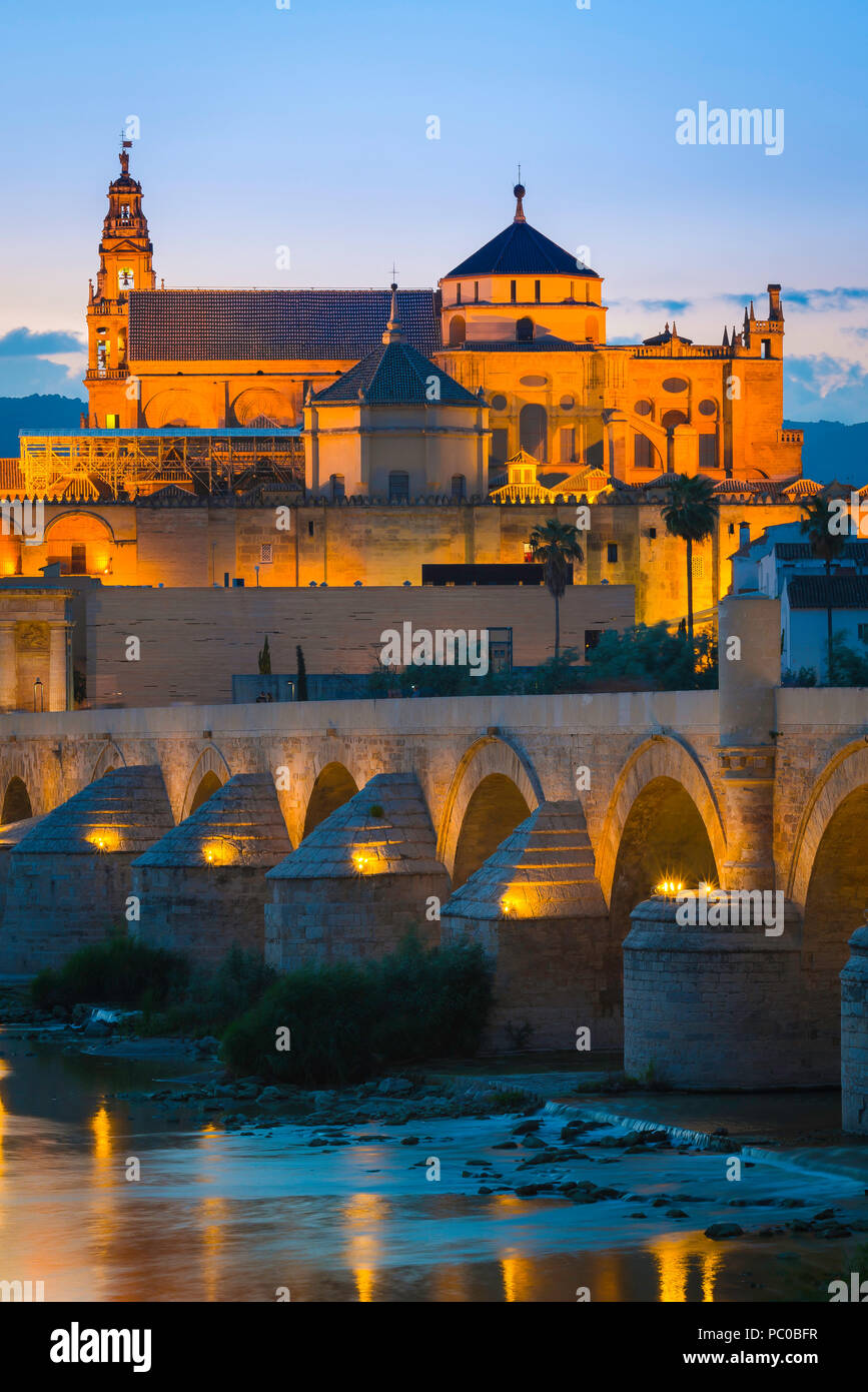 Cordoba Spain, view at night across the Roman bridge on the Rio Guadalquivir towards the Mezquita cathedral-mosque in Cordoba, Spain. - Stock Image