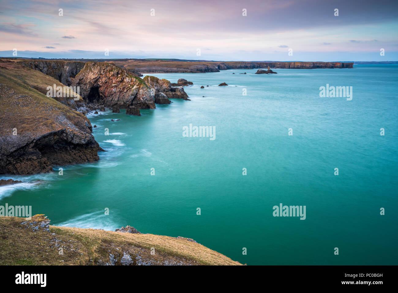Broad Haven seen from St Govan's Head, Pembrokeshire Coast National Park, Bosherston, Wales, UK - Stock Image