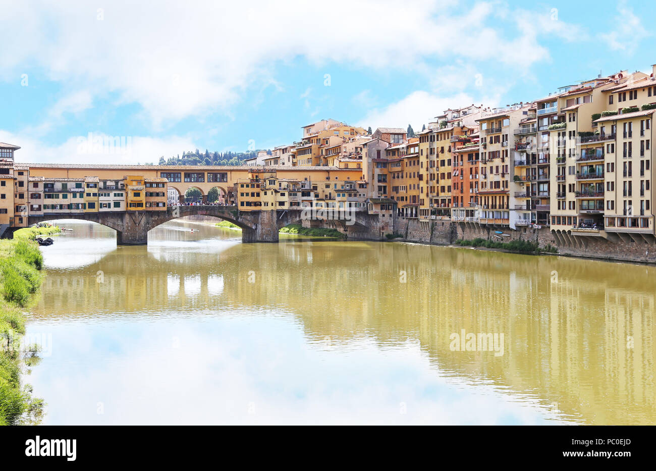 landscape of Arno river and Ponte Vecchio bridge Florence or Firenze city Italy - Stock Image