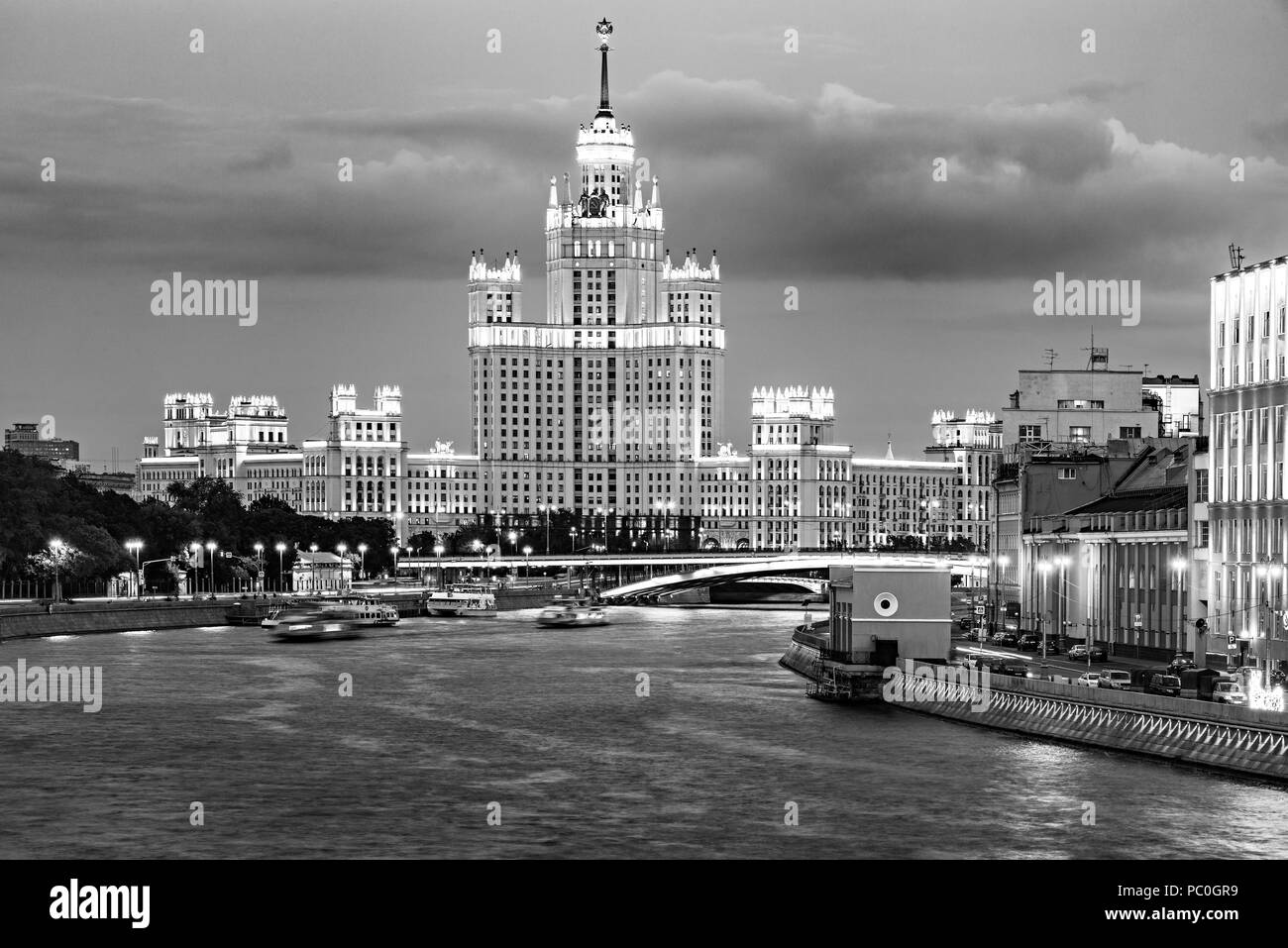 Retro skyscraper on Kotelnicheskaya embankment by Moscow river at sunset time. Moscow. Russia. Stock Photo