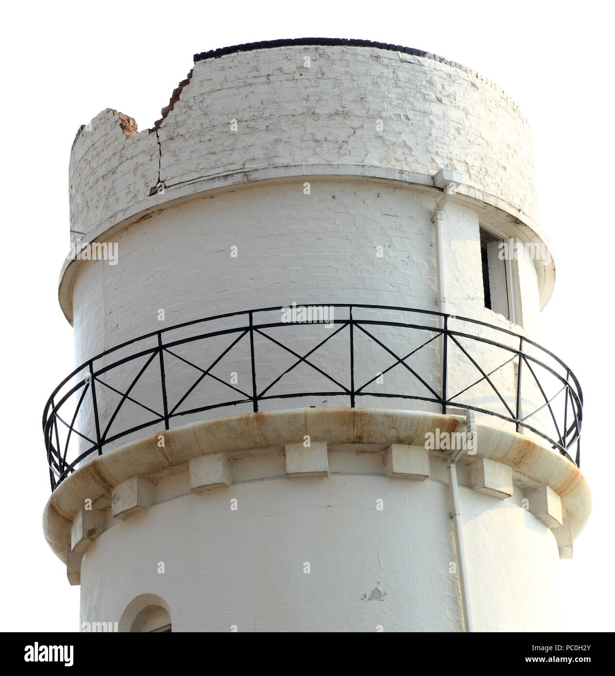 Hunstanton Lighthouse, struck by lightning, structural damage, top of tower - Stock Image