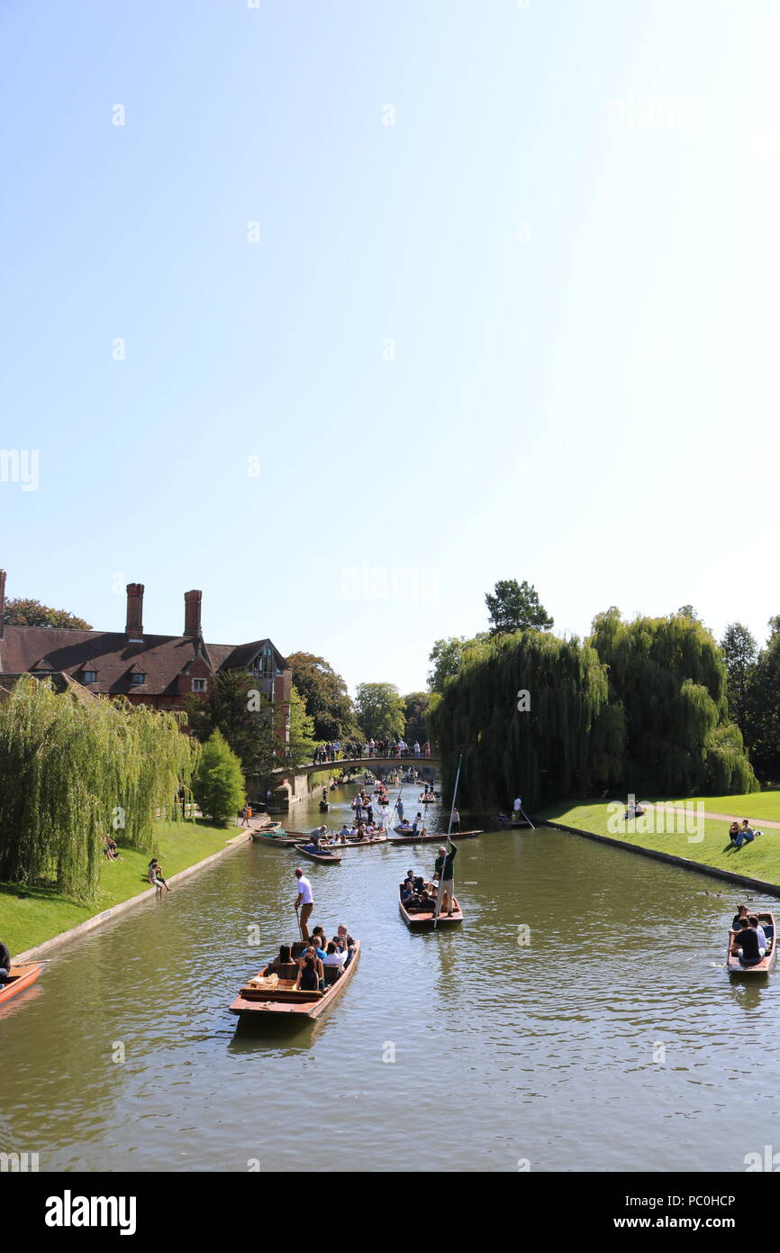 People punting on the river Cam in Cambridge Stock Photo