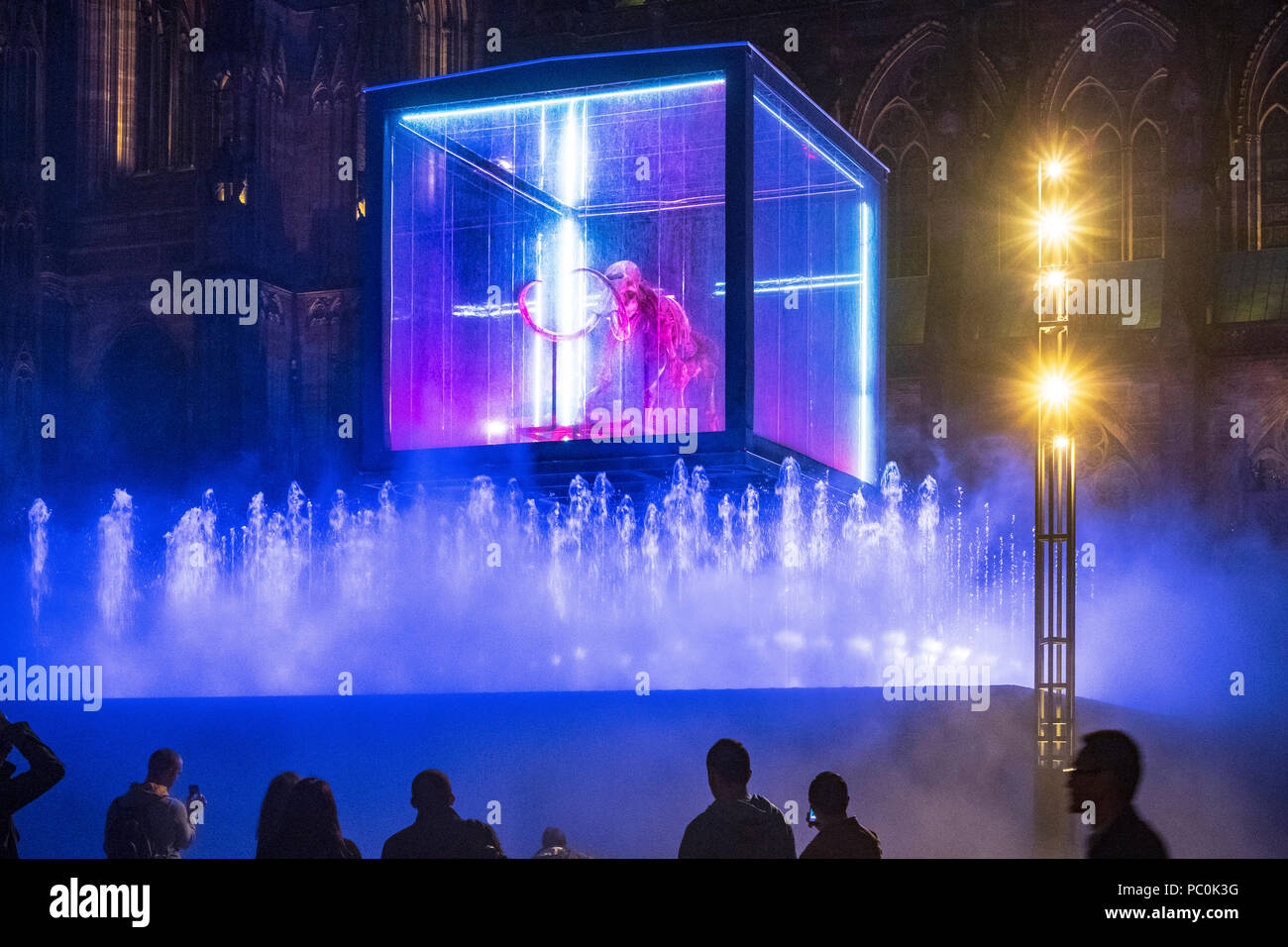 Strasbourg, Mammuthus Volantes,12.000-year-old mammoth skeleton suspended in display case, jet water fountain, night, Alsace, France, Europe, - Stock Image