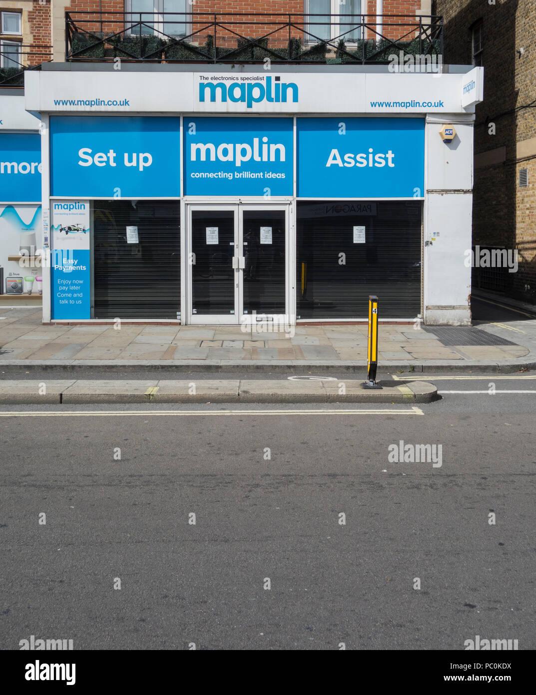 A closed Maplin store on King Street, Hammersmith, London, W6, UK - Stock Image