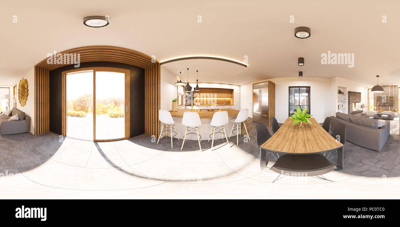 Amazing 3D Illustration Spherical 360 Degrees Seamless Panorama Of Interior Design Ideas Clesiryabchikinfo