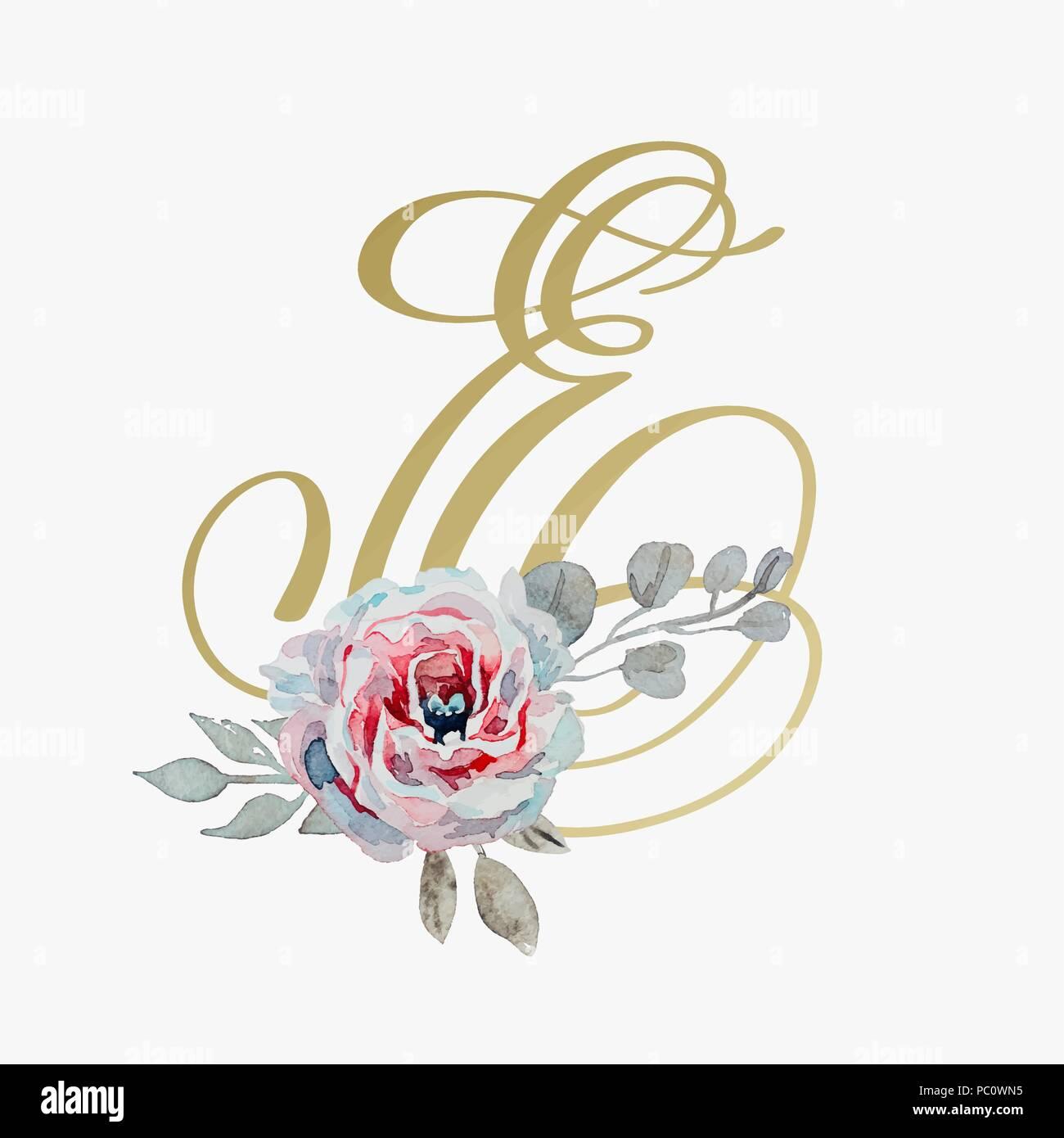 Golden Hand Lettering Font With Handmade Rose Flower Calligraphy