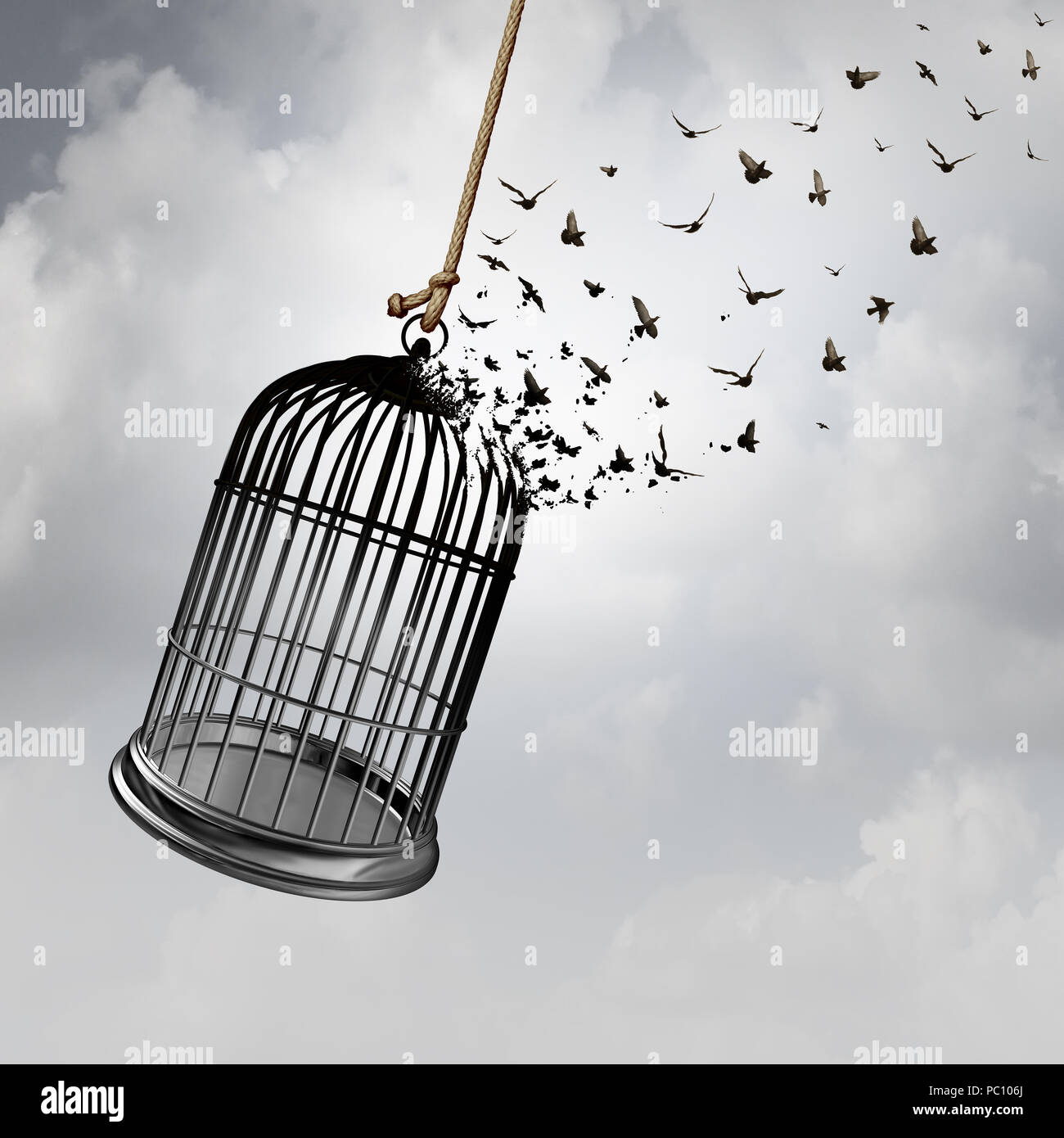 Freedom idea with a birdcage turning into flying birds as a captivity abstract concept with 3D rendering elements. - Stock Image