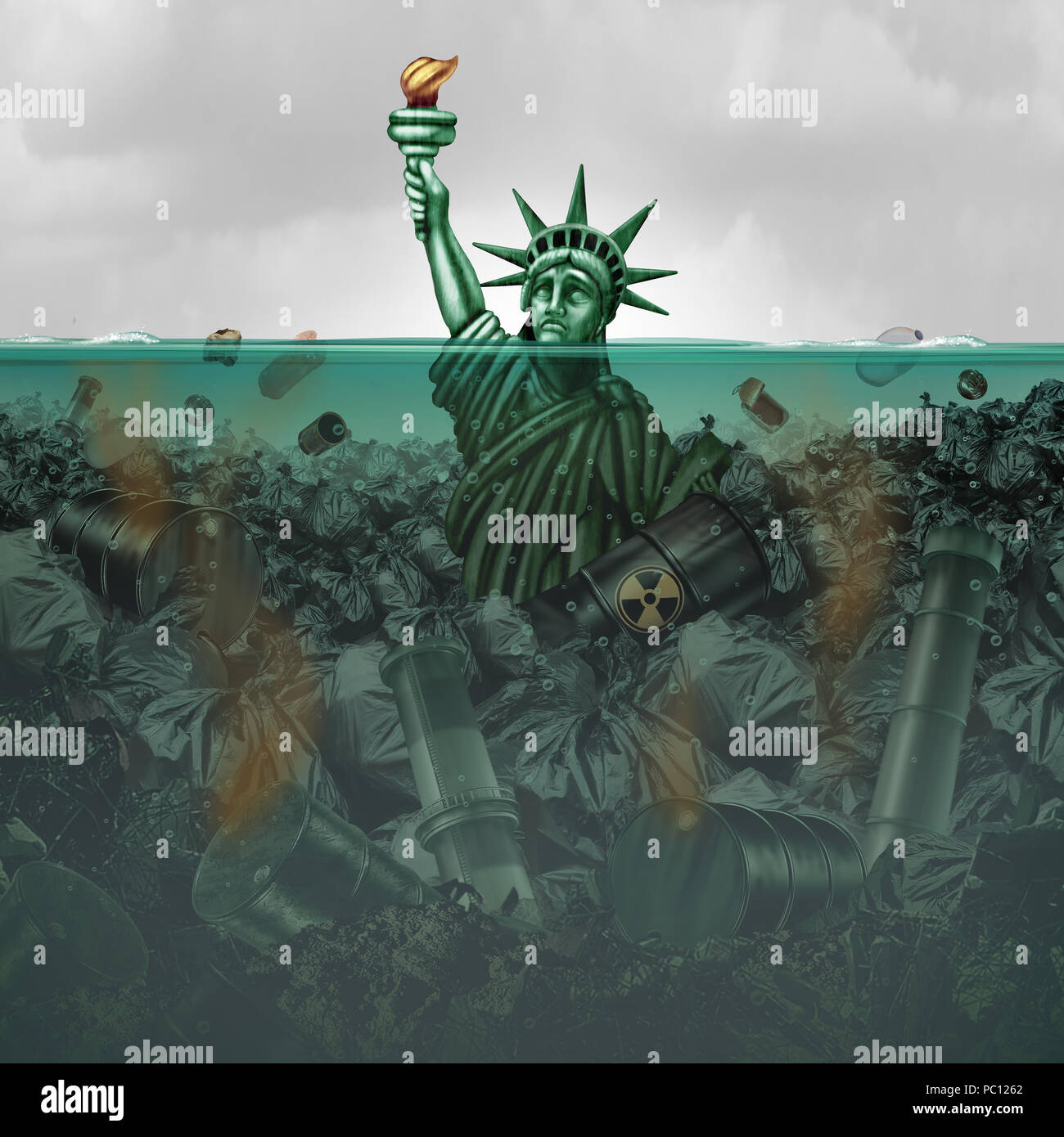 Pollution crisis USA and contaminated water in the United States as an American statue drowning in toxic water full of  industrial waste. - Stock Image