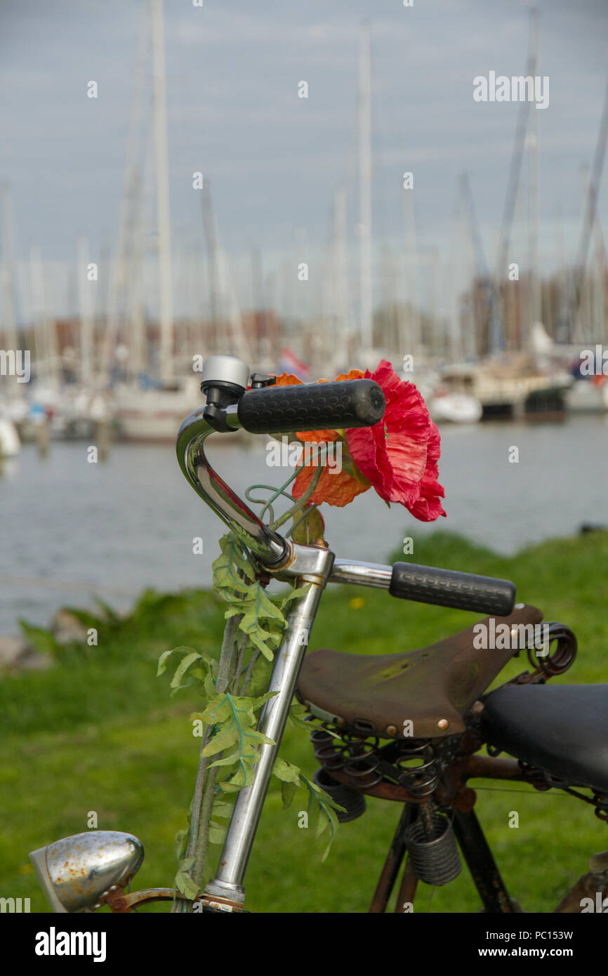 Handlebars of cycle with flower attached and boats in background - Stock Image