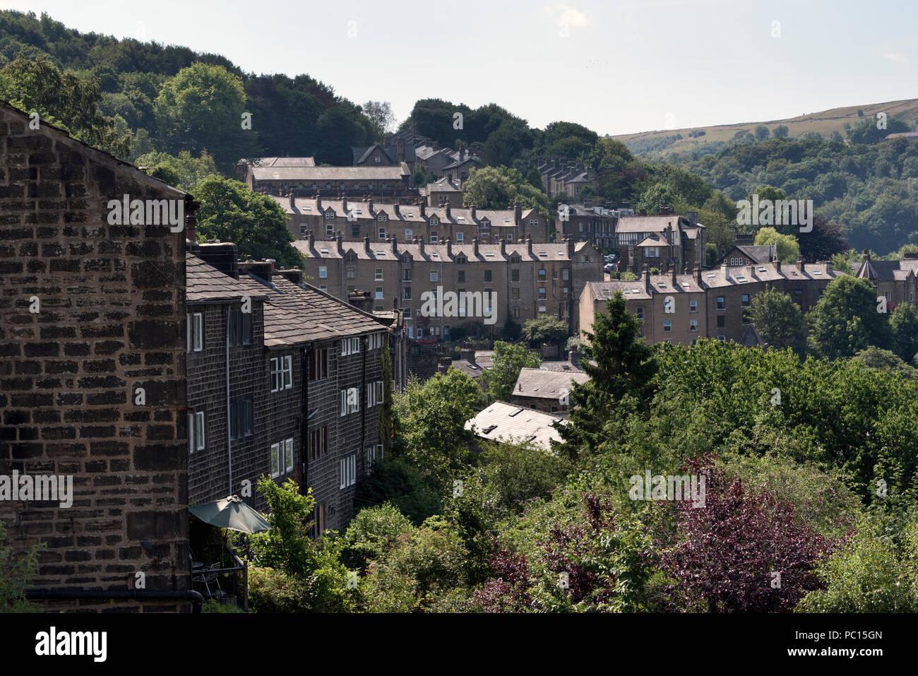 The Pennine town of Hebden Bridge in the Calder Valley, West Yorkshire, UK - Stock Image