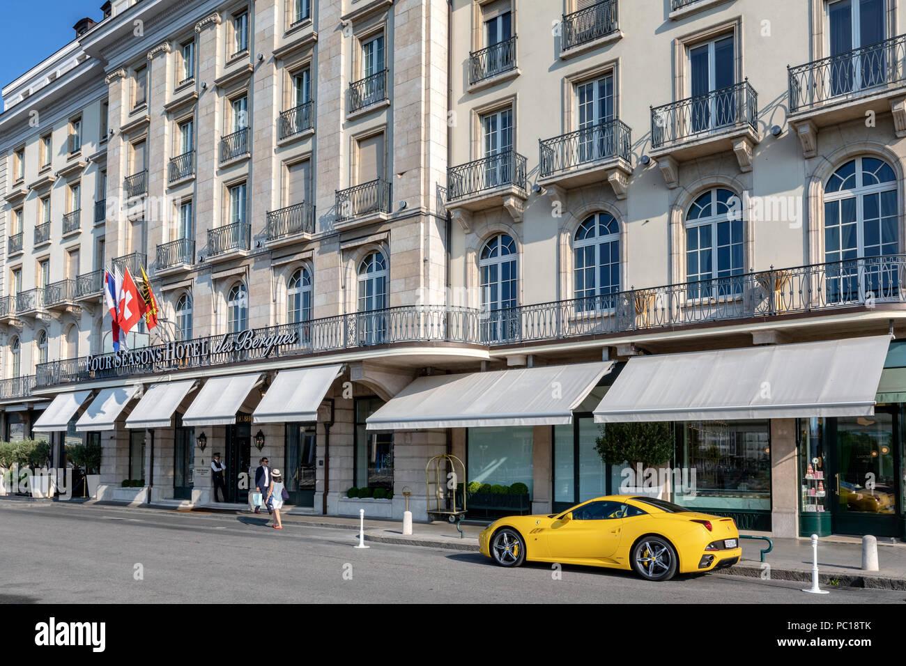 Four Seasons Hotel des Bergues Geneva, Switzerland - Stock Image